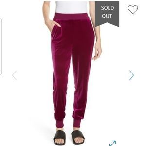 NEW Tibi Velvet Wine Joggers Pants
